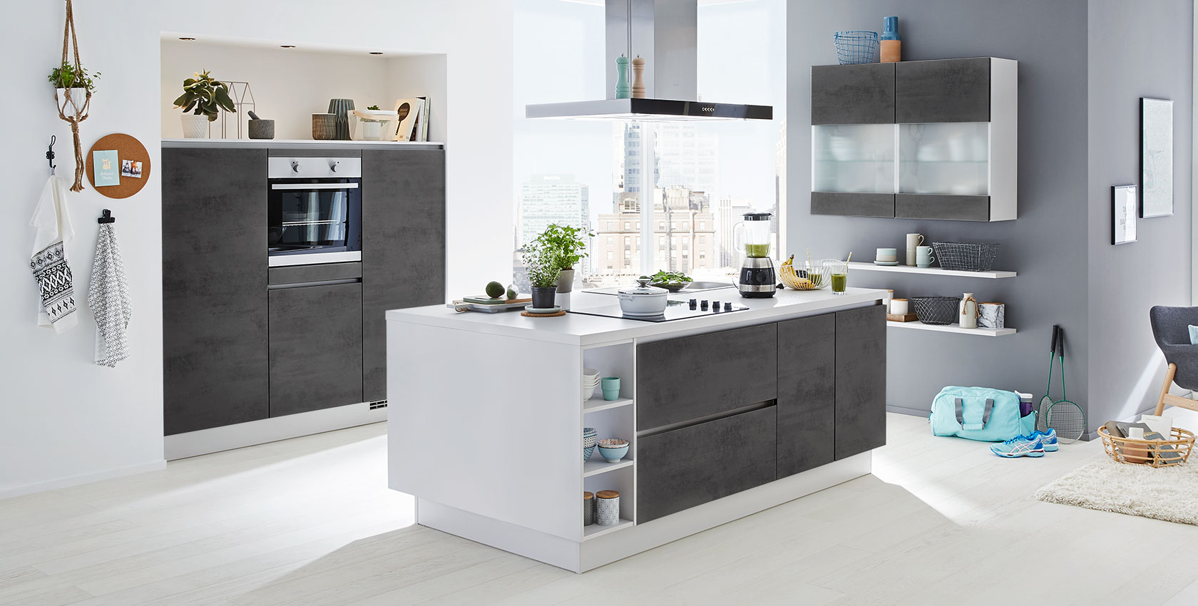 Küche mit freistehender Kochinsel Nobilia Riva ca. 180 / 120 / 210 x 117 cm, Front Beton grau ...